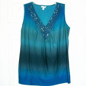 🦋New! Fashion Bug | Crochet Trim Sequin Tank Top